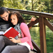 Young couple, male and female sitting in park and reading a book — Stock Photo