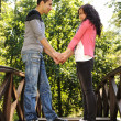 Beautiful scene of two teen lovers in nature, young couple together — Stock Photo