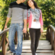Beautiful scene of two teen lovers in nature, young couple together walking — Stock Photo #6151266