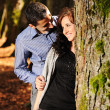 Lovers teenagers in nature talking with each other and falling in love :) — Stock Photo