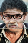 Human male face made of several different , artistic concept collage — Stock Photo
