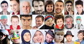 很多不同文化和不同年龄、 不同表情的共同的抽象拼贴画 — 图库照片