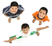 Happy children, positive fresh smiling boys from above, different angle, i — Stock Photo