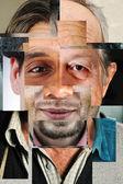 Ludzka twarz składa się z kilku różnych, artystycznych koncepcji kolaż — Zdjęcie stockowe