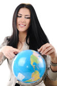 Young beautiful woman pointing on Globe — Stock Photo