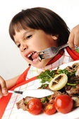 Kid refusing eating food — Stock Photo