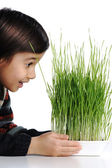 Cheerful kid with grass in hands — Stock Photo