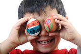 Happy child with Easter eggs — Stock Photo