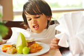 Refusing food, kid does not want to eat — Stock Photo