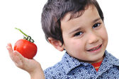Boy with Tomato — Stock Photo