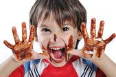 Funny boy kluk — Stock fotografie