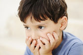 Autism, kid looking far away without interesting — Stock Photo