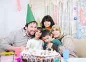 Birthday, happy Muslim family — Photo