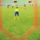 Football, children, stadium, net and goal — Stock Photo