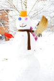 Snowman in winter — Stock Photo