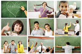 School concept, children and teacher in classroom - collage. Look for more — Stok fotoğraf