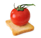 Tomato on slice of bread isolated, toast, vegetarian, vegetable, cereal — Stock Photo