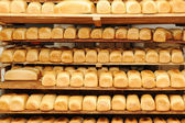 In bread bakery, food factory — Stock Photo