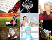 Beautiful ISLAM collection, collage of several photos, Muslim and th — Stock Photo