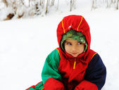 Happy child in snow, white winter — Stock Photo