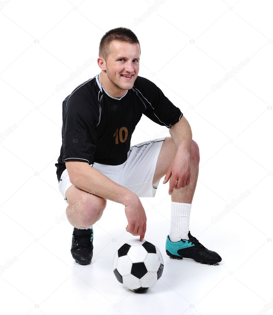 Football player is holding ball isolated on white — Stock Photo #6150253