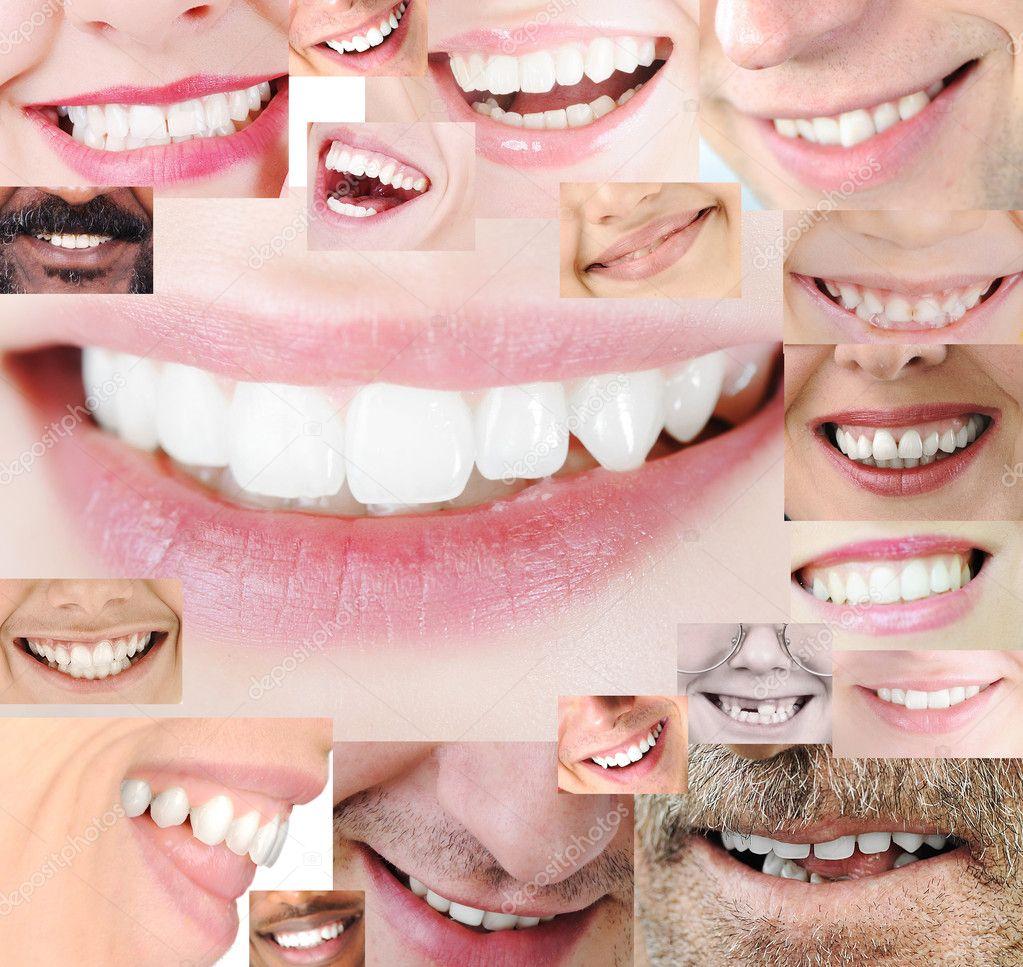 Human healthy teeth smile collage — Stock Photo © zurijeta ...