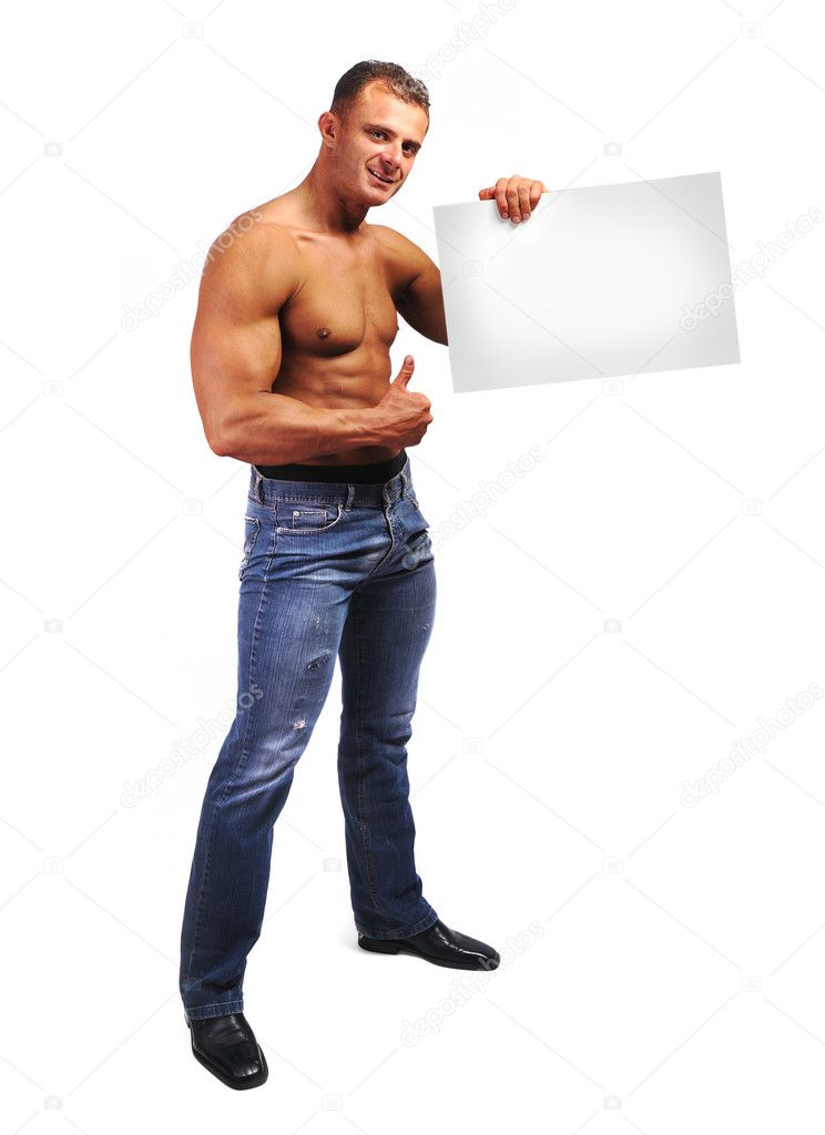 Young attractive male body builder with advertising copy space board. Studio shot, white isolated background. — Stock Photo #6150882