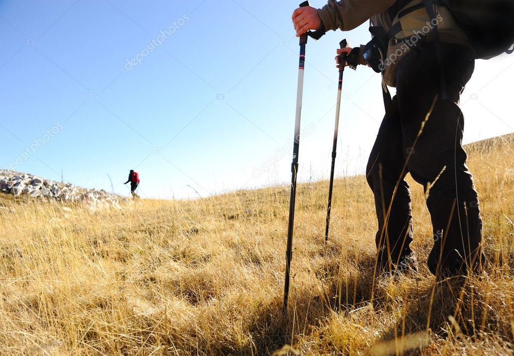 Sport hiking in mountains, walking and backpacking — Stock Photo #6151082