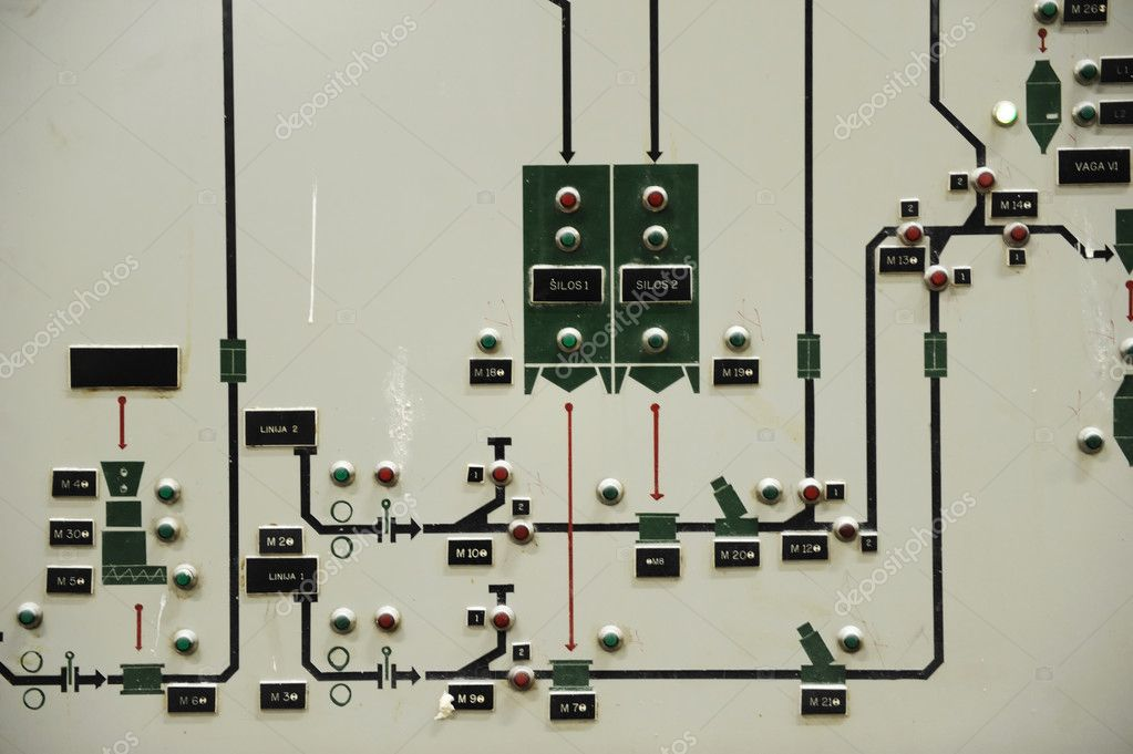 Operating old brewery control display, close-up shot — Stock Photo #6151114