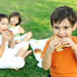 Small group of children in nature eating snacks together, sandwiches, bread — Stock Photo #6186447