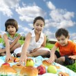Small group of children eating together in nature, picnic, beautiful scene — Stock Photo