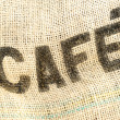 Caffee, cafe bag, fabric grunge background — Stock Photo