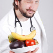 Doctor with healthy food — Stock Photo #6187909