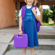 Blonde girl in front of the school standing - Stok fotoğraf