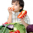Healthy food, cute kid — Stok Fotoğraf #6187965