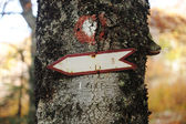 A sign post pointing to the direction of a left side. Easily remove the tex — Photo