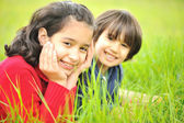 Happy children in nature — Stock Photo