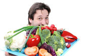 Doctor with healthy food — Stock Photo