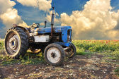 Very old tractor in field, different parts - no trademark at all — Stok fotoğraf