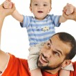Father and baby son, playing together, isolated, piggyback — Stock Photo