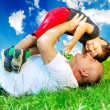 Happy parent and little boy — Stockfoto