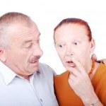 Elderly couple shocked — Stock Photo