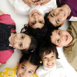 Vertical  photo of children group,  friends smiling isolated on white, boys — Stock Photo