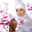 Beautiful Muslim positive woman smiling portrait — Stock Photo