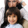 Stockfoto: Mother and son in love together, sitting on sofa at home