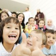 Crowd of children, different ages and races in front of the school, breakti — Stock Photo