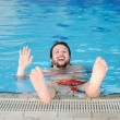 Stock Photo: Swimming man, fun in pool