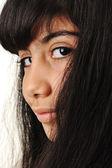 Schoolgirl, black long hair, portrait, black eyes — Stock Photo