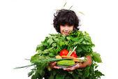 Green vegetable girl — Stock Photo