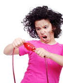 Girl getting electrocuted — Stock Photo